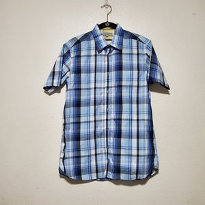 Ted baker blue short sleeve plaid button front